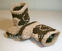 Free shipping /Wholesale -baby kids cute handmade shoes infant crochet cowboy snow boots mix colors 0-12M 9pairs/lot custom