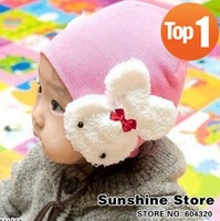 Sunshine Store #2C2507 20 pcs/lot (5 colors) baby rabbit hat! girls winter&spring hats children beanies infant knitted cap CPAM