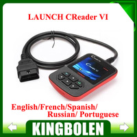 Free Shipping Original Launch X431 Creader VI OBD2 Code Scanner Color Screen Support English/Spanish/French/Russian/Portugese