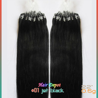 "[2/3-pcs] 22"" #01 Micro Ring Hair Extensions Human 0.5g/s jet black Easy Loop Hair Extension Straight free shipping Cheap"