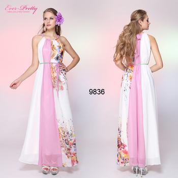 HE09836WH Adjusatble Halter Floral Printed Шифон Belt Formal Длинный Evening Dress