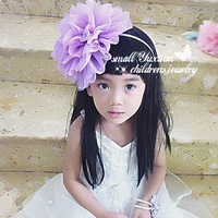 Free Shipping 6Pcs/lot Fashion Hair accessories Girl headband 8 color Big hair clips Chiffon Hair bands Exaggeration Head flower