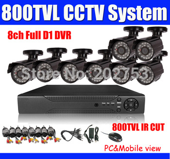 HDMI 960h CCTV System 8ch DVR Kit 8ch CCTV DVR Recroder 960h D1 recording 480TVL Waterproof IR Camera Cables Included