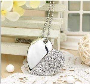 Crystal Heart Shaped USB  Flash   Drive  Metal 8GB 16GB 32GB 64GB