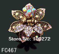 Wholesale hot sell zinc alloy rhinestone fashion flowers hair claw hair accessories Free shipping 12pcs/lot Mixed colors FC467
