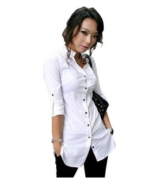 Free shipping,hot sale fashion women&#39;s/ladies&#39; turn-down collar slim shirts/cottons long sleeve blouse tops,business shirt, F308(China (Mainland))