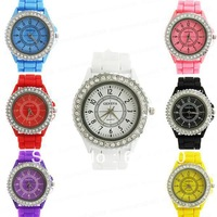 9 Colors Choice Fruity-Color Classic Gel Crystal Silicone Men women Lady Jelly Watch Wedding Xmas Gift Freeshipping #8338