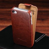 Deluxe Retro Flip PU Leather Case for iPhone 4 4S Luxury Phone Back Cover with Fashion Logo Black Brown Pink YOTONE
