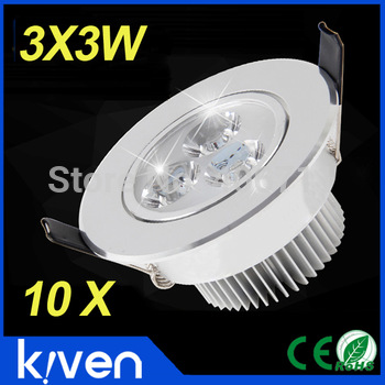 10pcs/lot 9W Ceiling downlight Cree LED ceiling lamp Recessed Spot light 85V-265V for home illumination Free shipping