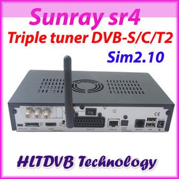 Sunray sr4 800se full hd satellite tv receiver wifi internal triple DVB-S2/C/T2 tuner sim2.10 REV.D13 decoder DHL free shipping