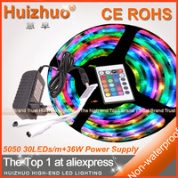 [Huizhuo Lighting]5m Non-Waterproof SMD5050 150LEDs RGB LED Strip Light With 12V 3A Power Adatper