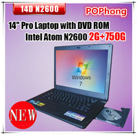 14 inch mini laptop notebook with dvd writer 750GB HDD windows 7 Intel Atom Processor D2500 (1M Cache 1.86 GHz)
