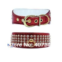 Free Shipping! Wholesale MOQ 12 pcs Stunning Geniune Crystal Dog Collar 4 colors assorted