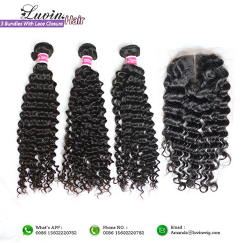 3 Pieces Brazilian Virgin Hair With Lace Closure 4Pcs/Lot Deep Curly Textures Unprocessed Human Hair Shipping Free