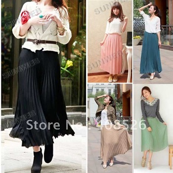 2013 New Women Bohemian Pleated Wave Chiffon Maxi Long Skirt Beach 7 Colors free shipping 3880