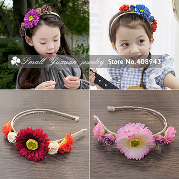 Free Shipping 2Pcs/Lot New fashion Woman Girl baby hair accessories Charming flowers headband/wreath/head flower/Hairbands!X4385