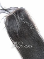 Free shipping ! Malaysian hair Silk straight style 4*4'' lace frontal top closure  14''  #1b