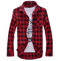 Mens Vintage Plaid Check Long Sleeve Shirt  Slim Fit  Shirts for Men High Quality Shirt I194