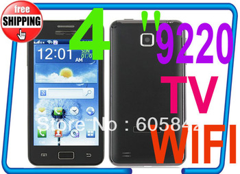 HOT i9220 (MTK6250) TV WiFi 4.0 Inch Touch Screen Quad Band mobile Phone Dual SIM Card (Free shipping China Post)