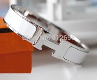 HOT Sales Titanium Steel Silver Plated Bracelet Bangle with White/Black/Orange/Red Enamel, Clasp Buckle for Women/Men