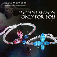 Neoglory Jewelry MADE WITH SWAROVSKI ELEMENTS Charm Bangles Bracelets Crystal Jewellery Flower Designer Party Accessories 2014
