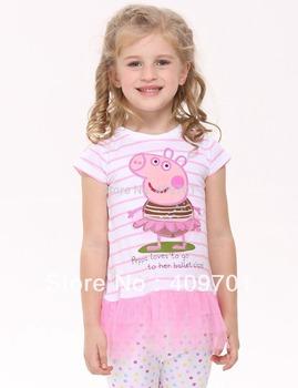 FREE SHIPPING hot selling 100% cotton NOVA girl dress lovely baby girls short sleeve dress applique peppa beautiful dresses LU1#