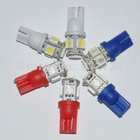 T10 194 W5W 5 SMD 5050 LED Wedge Light Bulb free shipping  10PCS/ LOT
