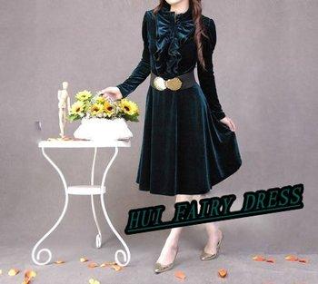 Sashes for Free Spring Autumn Gentlewomen Slim Elegant Velvet Long-sleeve  One-piece Dress  four colors