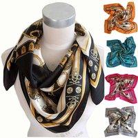 90*90cm Ladies Big Square Scarf Shawl,Polyester Silk Scarf Printed,2015 Brand Satin Women Scarf Wraps Blue,Rose Red,Black,Orange
