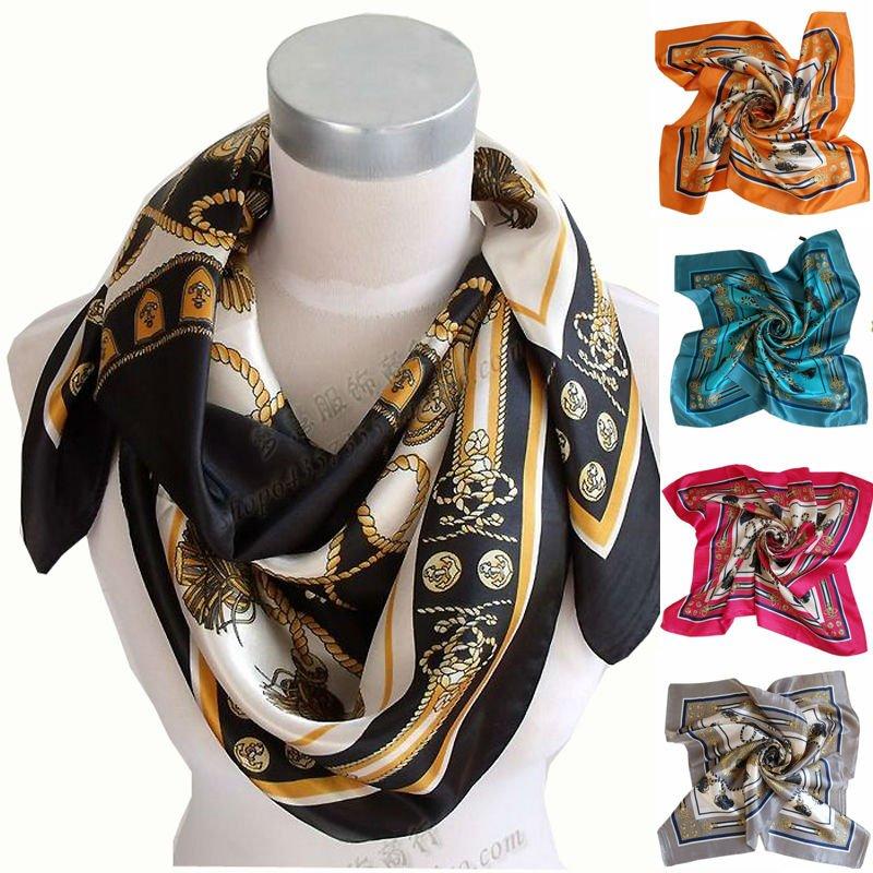90*90cm Ladies Big Square Scarf Shawl,Polyester Silk Scarf Printed,2014 Brand Satin Women Scarf Wraps Blue,Rose Red,Black,Orange(China (Mainland))
