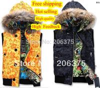 FREE SHIPPING 2014 HOT FASHION HOODED OUTERDOOR DOWN VEST Women & Men Vest Lovers FUR COLLAR Coats Black Yellow XS S M L XL XXL