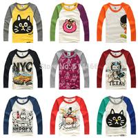 Retail Free shipping! Girls Boys Tops Kids Cotton Long Sleeves T-shirts Children Tees Patchwork Fashion O neck Sweatershirts