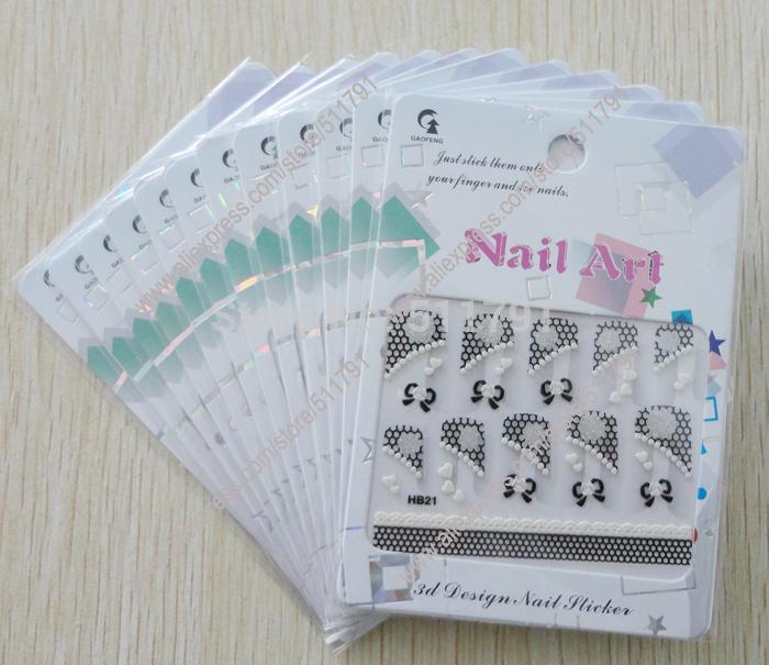 3D Design Nail Art Sticker,3D Design Nail Art Seal ,various of design,12packs per lot.(China (Mainland))