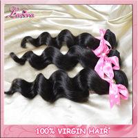 rosa hair products Mix length 2pcs/lot  brazilian virgin hair loose wave 100% human hair extension Nature black Free Shipping,