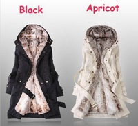 2014 Faux Fur Lining Women's Winter Warm Long Fur Coat Jacket Clothes Wholesale SW11091903