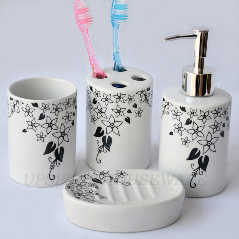 free shipping Cereamic Bathroom Set 4pcs eco-friendly fashion bathroom accessories set sanitaryware shower set gift set(China (Mainland))