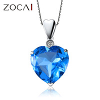 ZOCAI ZODIAC GEM 7 CT CERTIFIED TOPAZ DIAMOND 9K WHITE GOLD BLUE HEART PENDANT NECKLACE +  925 SILVER CHAIN CHAIN D01992