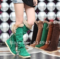 wholesale retail 2012  Ladies  plus size rabbit fur thick bottom tall canister boots tassel flat snow boots Free shipping 2111
