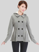 wholesale 5pces Spring autumn gray women female ladies fashion hoody hooded cotton liner coat jacket outwear sweater top WM6550