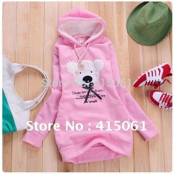 [WSWG]Hot Sell Free Shipping 2012 NEW Hoodie Long Top Pullover, Winter Coat,Garment Coat,Women Coat,Cute Teddy Bear hoodies,