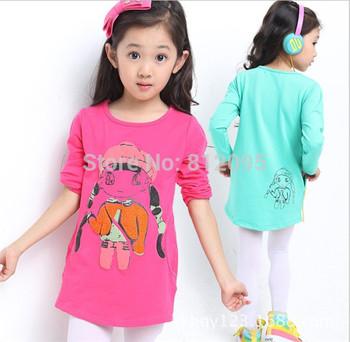 LittleSpring wholesale kids clothes 2015 new girls long sleeve cartoon spring autumn girl long sleeve t shirt