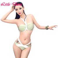 Freeshipping 2014 New Fashion Sexy women halter bikini set push up swimwear striped swimsuits bandage bikini