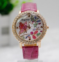 2014 New Fashion Colorful Butterfly Flower Women Rhinestone Watch Lady Dress Watches Women Leather Wristwatch Dropshipping