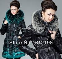 Luxury Large RACCOON Fur Collar Down Jacket Slim Thickening Long Duck Down Coat Women Plus Size XXL 3XL