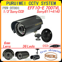 "1/3"" Sony ccd 700tvl with OSD menu 36leds IR outdoor/indoor waterproof with bracket cctv camera . Free Shipping!!!"