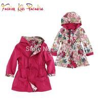 Hot Sale 2014 new autumn France brand children coat&outerwear, floral kids girls coat, designer girls reversible jacket, 2-12Y