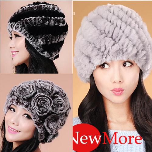 SALE price autumn and winter rex rabbit fur hat and cap for women Genuine rabbit fur hat(China (Mainland))