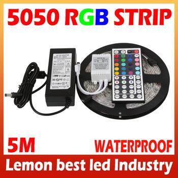 5M RGB led Strip tape 5050 SMD 60led/m Flexible Waterproof + 44key Remote + 12V Transformer For Home Part wedding Decoration