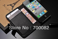 Fashion Wallet Case With Card Holder Stand Design Leather Case For iPhone 4G 4S