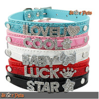 New Gator PU leather 5 Colors Personalized DIY  Dog Pet Puppy Collars Rhinestone Name Charms Colorful XS S M L